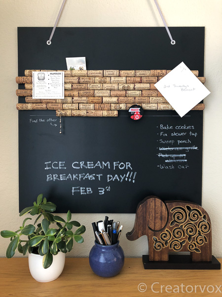 organization board with cork and chalkboard surface