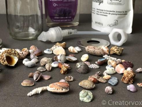 seashells for mason jar soap dispenser