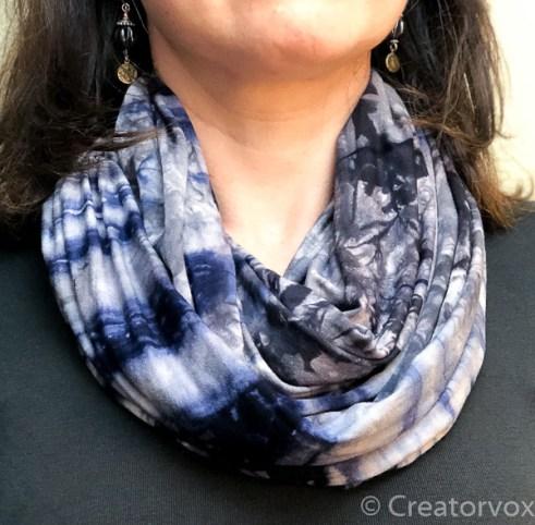 lightweight infinity scarf blue tie dye pattern