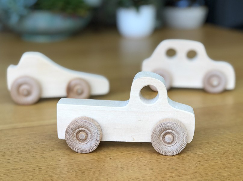 wooden toy car set of three