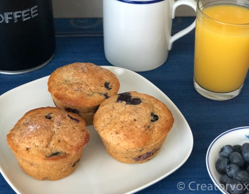 healthy blueberry muffins breakfast with coffee