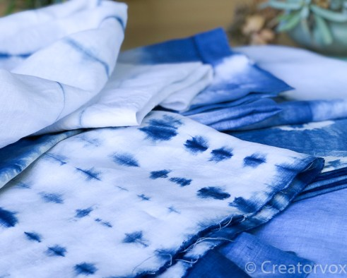 indigo dye vat colors and shibori patterns