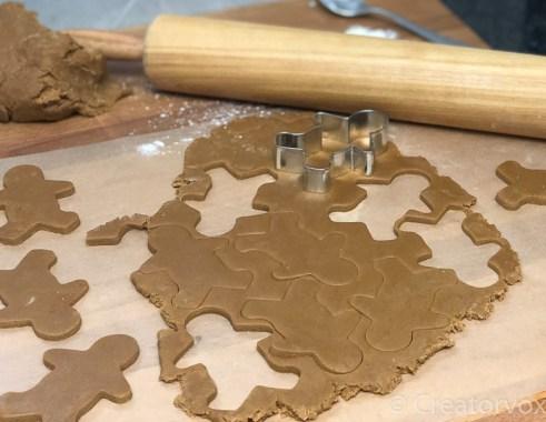 spooky gingerbread men cut from rolled dough 2