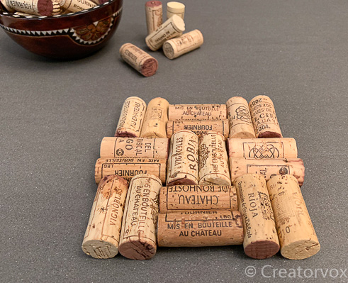 wine cork trivet basket weave pattern