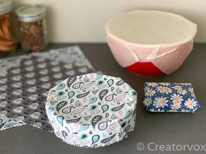 reusable beeswax wraps in different fabrics