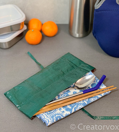 upcycled travel cutlery holder from green tarp