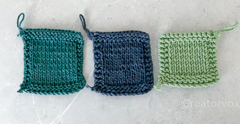 gauge swatches for DK Worsted Aran