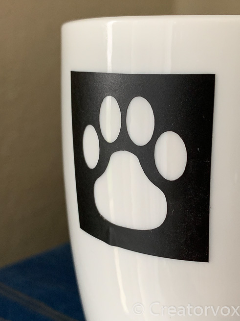 vinyl stencil on mug for painting