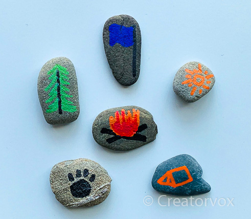 Camping theme story stones
