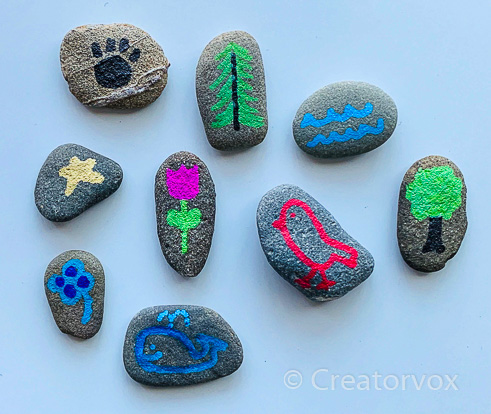 Nature theme story stones