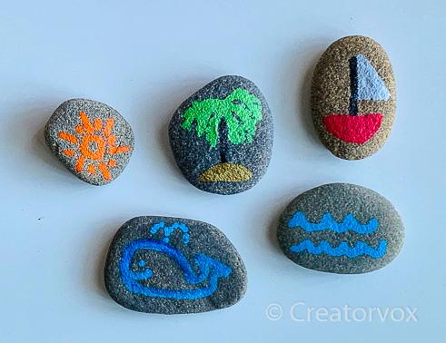 beach theme story stones
