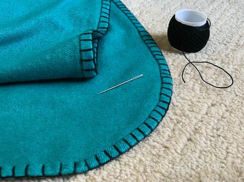 blanket stitch edge on eco friendly blanket