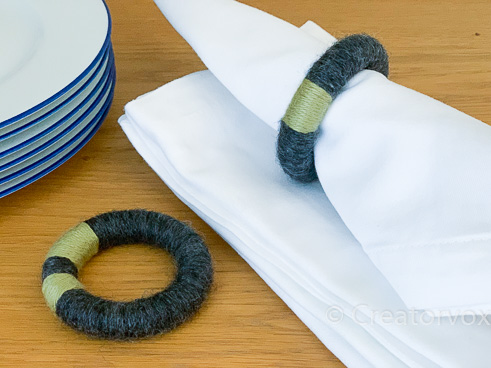 green and gray yarn-wrapped napkin rings