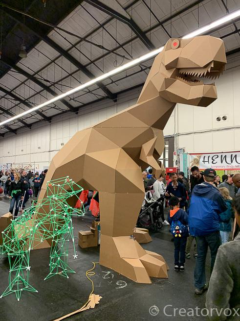 cardboard t-rex at Maker Faire