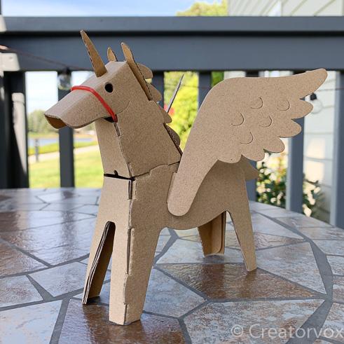 cardboard unicorn with wings