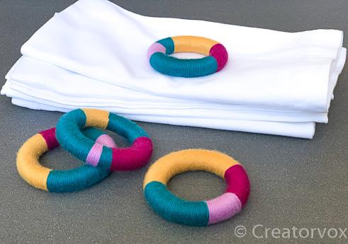 set of colorful DIY napkin rings