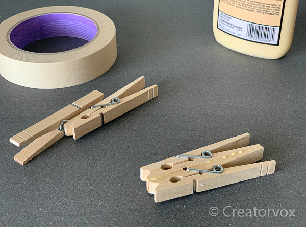 clothes pins glued together before clamping