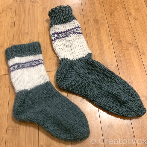 knit slippers before and after felting