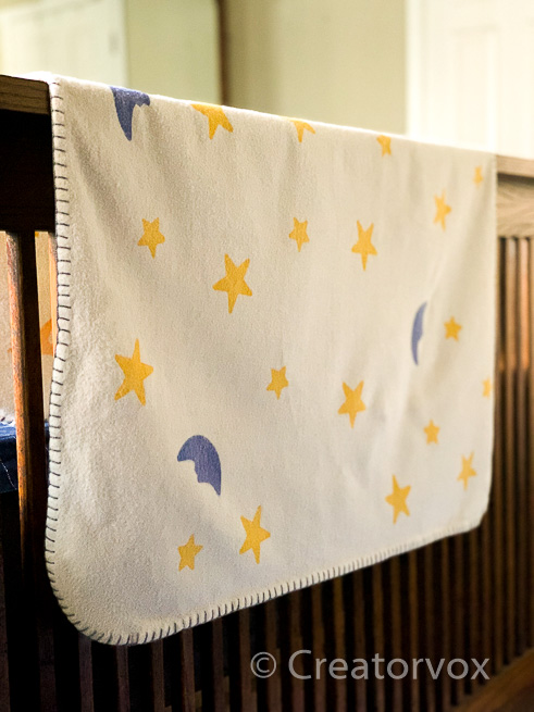 DIY receiving blanket with moons and stars pattern