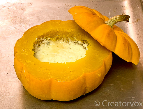 cheeses inside mini pumpkin bubbled up the sides