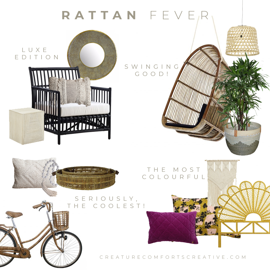 Rattan furniture and decor objects