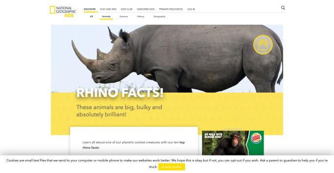 Nat Geo Kids website screenshot Black Rhino facts