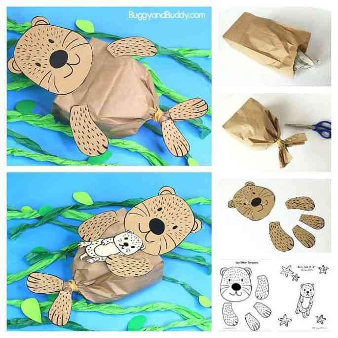 Paper bag otter craft