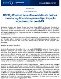 BCCR y Conassif acuerdan medidas de política monetaria y financiera para mitigar impacto económico del covid-19