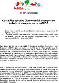 Costa Rica aprueba último comité y completa el trabajo técnico para entrar a OCDE
