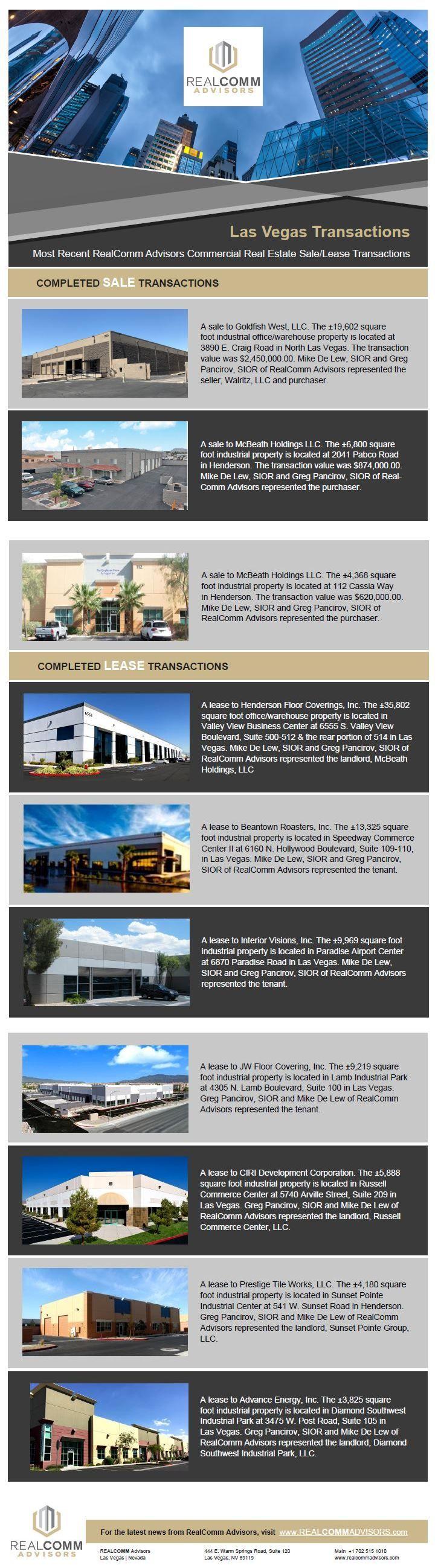 Las Vegas Transactions Most Recent RealComm Advisors Commercial Real Estate Sale Lease