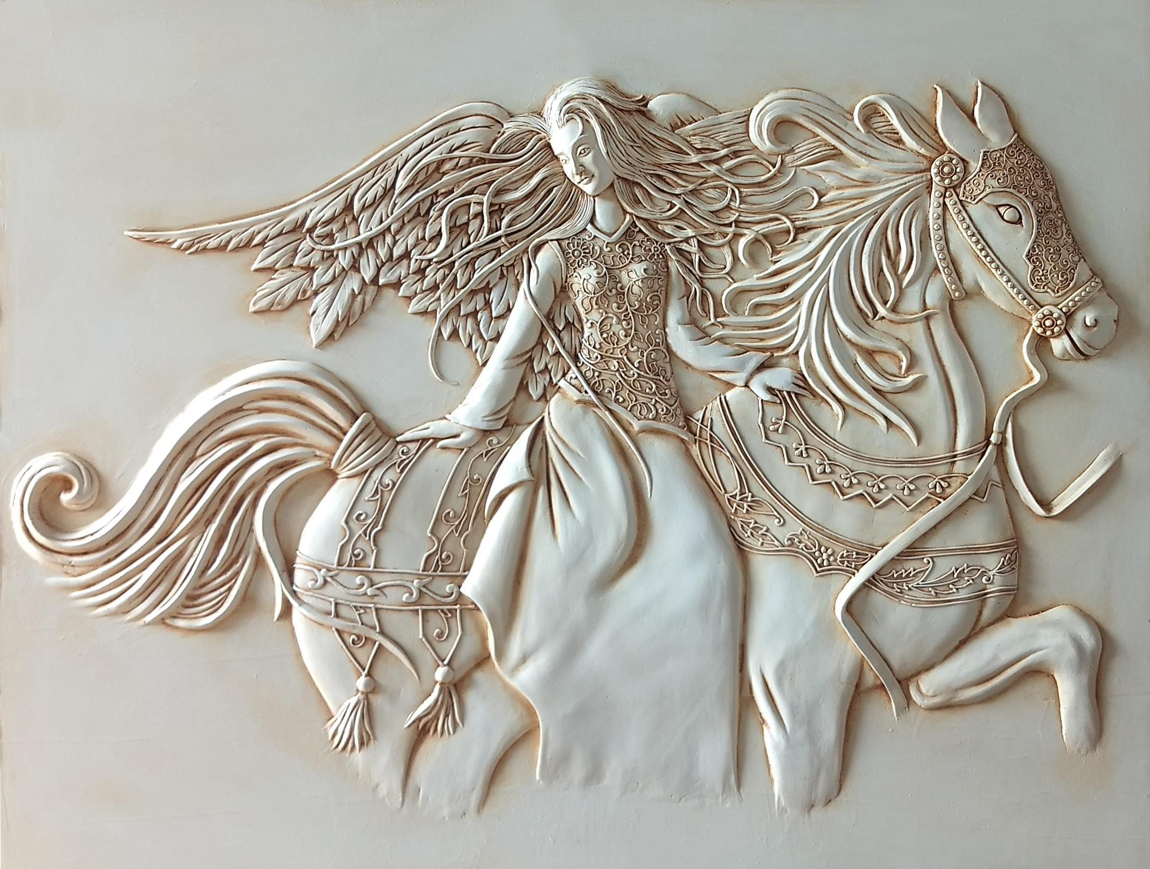 3D Clay Painting Angel & Horse