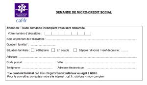 demande de micro crédit CAF