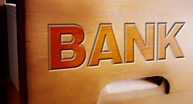 引き出しにBANKの文字が彫ってある