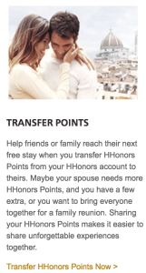 Transfer Hilton HHonors points