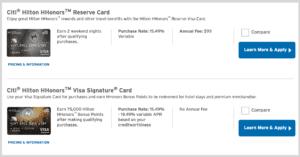 Citi Hilton credit cards