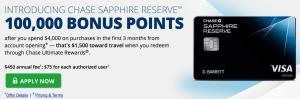 Chase Sapphire Reserve credit card bonus