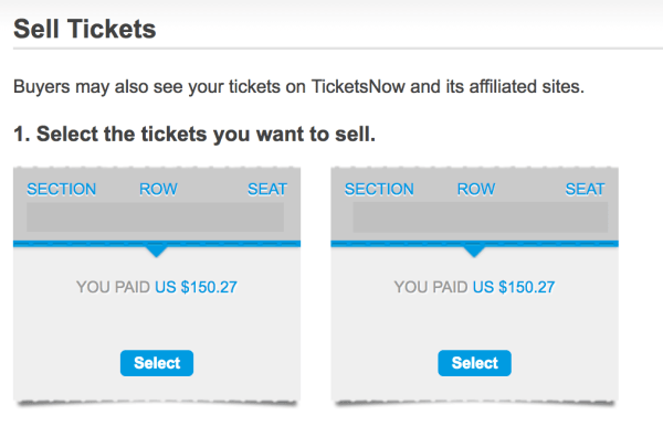 Selling tickets on Ticketmaster
