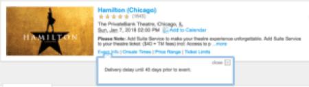 Hamilton Chicago delivery delay