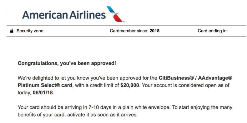 Citi AA Approval