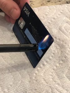Destroying a metal credit card