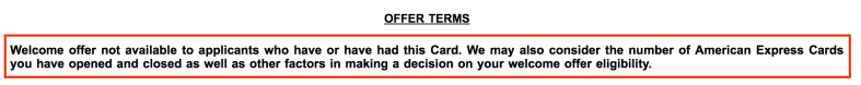 Amex Offer Terms