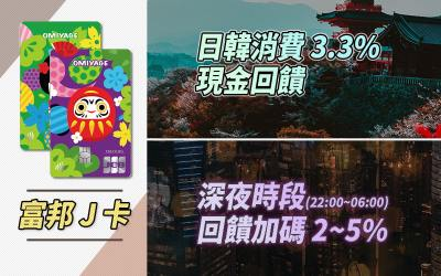 【深夜回饋】富邦 J 卡日韓消費 3.3% 無上限,深夜加碼 2~5%|信用卡 現金回饋