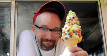 Man offering ice-creams