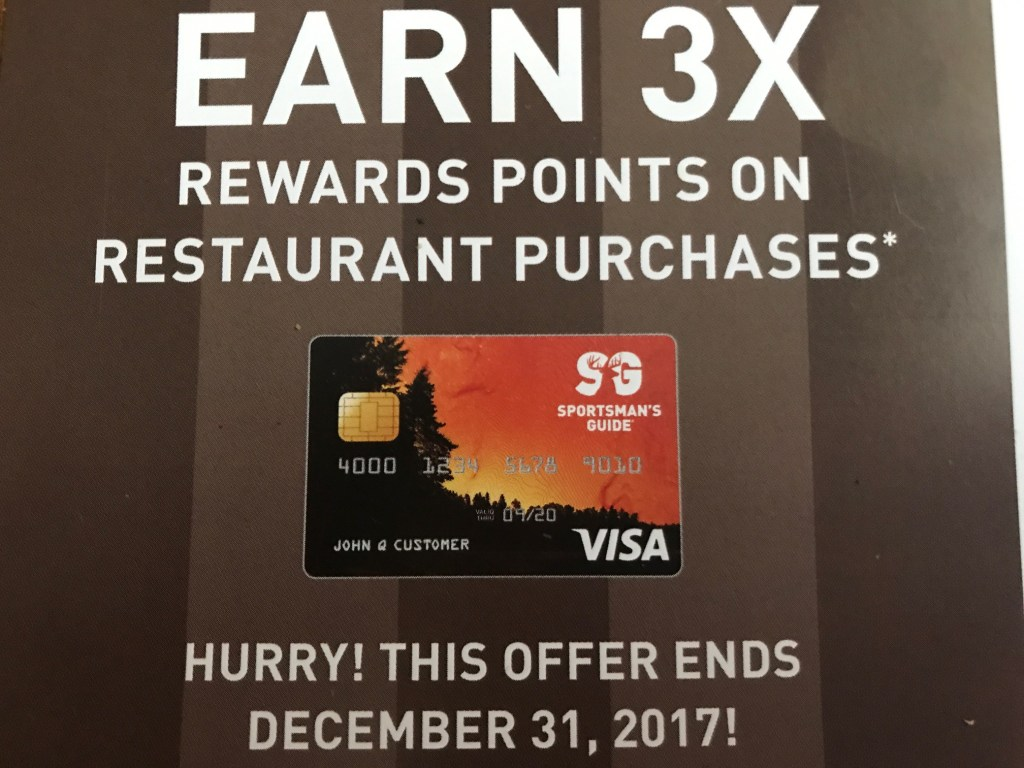 3X Reward Points Towards Dining With Restaurants Using The Sportsman's Guide Visa Credit Card