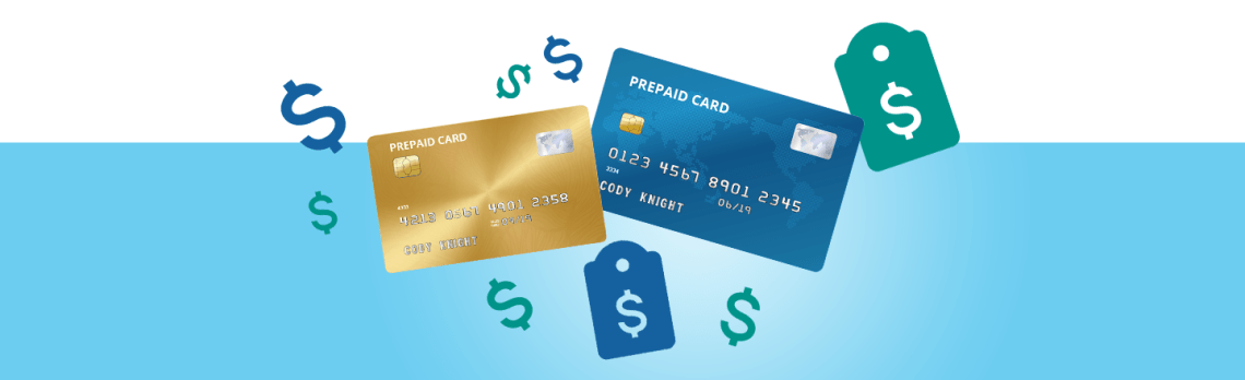 Illustration of blue and gold prepaid cards and dollar symbols on light blue background