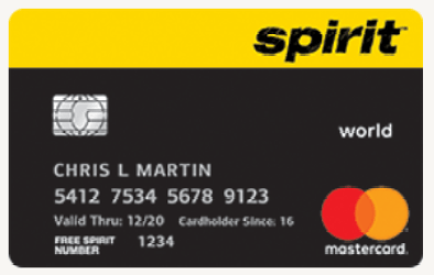 Spirit Credit Card - Features a black and yellow design
