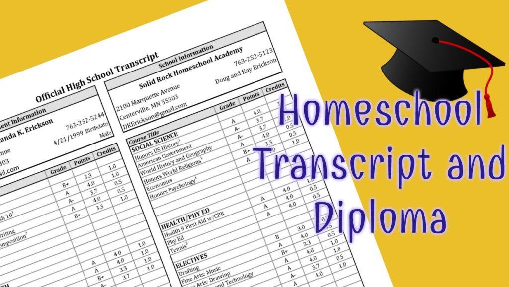 Transcript Template For High School Homeschool Students