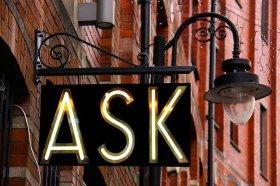 Ask on Iron Swinging Sign
