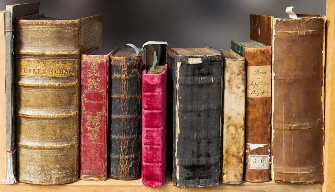 Old Books on Bookshelf