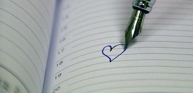 Calendar with Heart Written in Fountain Pen
